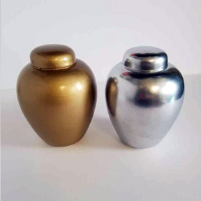 Coloured Ceramic Urns - Gold and Silver
