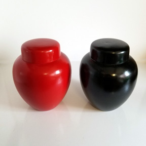 Coloured Ceramic Urns - red and black